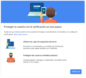 Verificación en dos pasos gmail